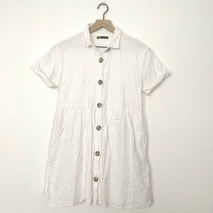 Zara White Eyelet Lace Button Up Dress
